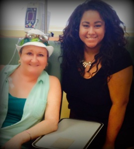 Kailey Visiting with me during a Herceptin treatment.